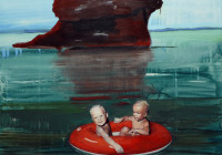 Children in Boat with Seascape